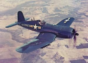 F4UF Marine Fighter flying over Korea Sept. 1950