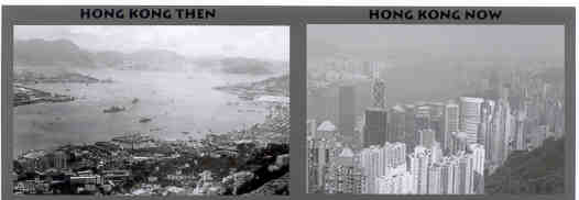 Hong Kong's economy has boomed since ROCHESTER's 1955 visit. This is evident in the two photos above (1954 and 2002, both views from the same location)