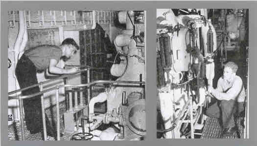 Engineering watch-standers carefully monitored the production of power that drove the ship. Here (above left), the temperature of the main-engine bearings is noted, while (on the right) a Boiler Tender watches to ensure that boiler water is at a proper level.
